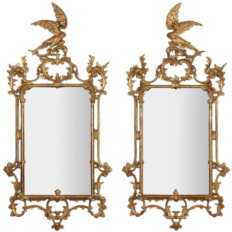 Rare Pair of Late 18th- Early 19th Century Carved Gilt Georgian Mirrors