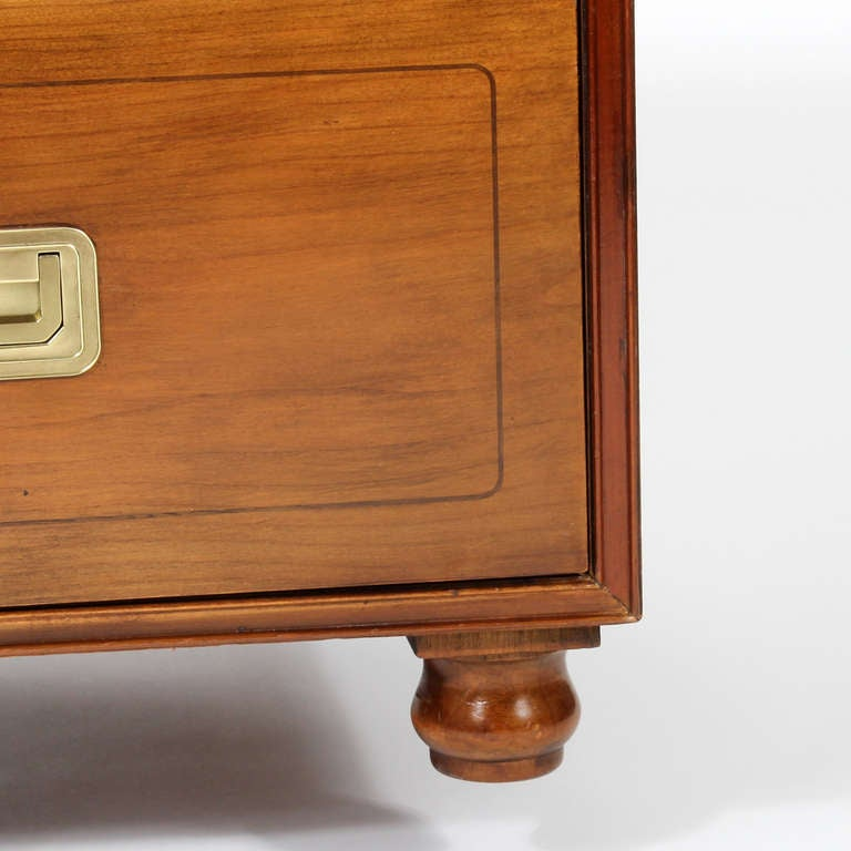 Pair of Campaign Style Chests by Baker For Sale 1