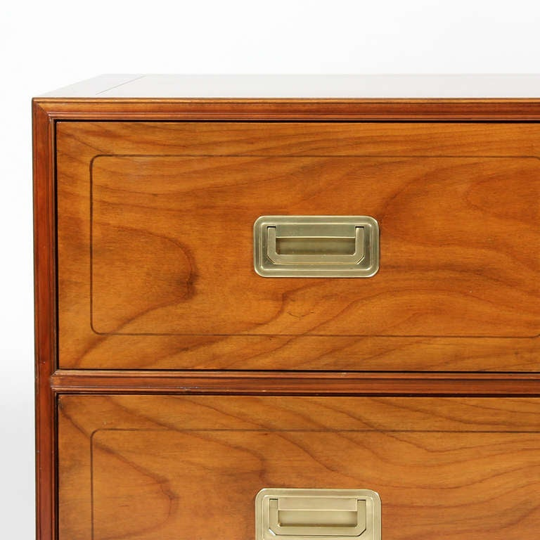 Late 20th Century Pair of Campaign Style Chests by Baker For Sale
