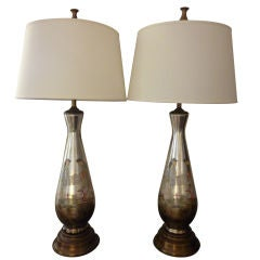 Pair of Reverse on Glass Painted and Decoupage Lamps