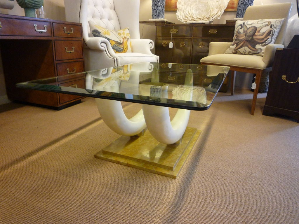 maison jansen large faux elephant tusk cocktail or coffee table