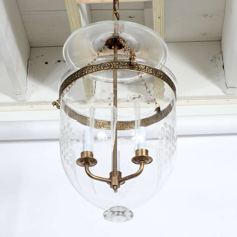 Etched Glass Bell Jar Hurricane Pendant Light or Lantern 3 - Etched Glass Bell Jar Hurricane Pendant Light Or Lantern At 1stdibs