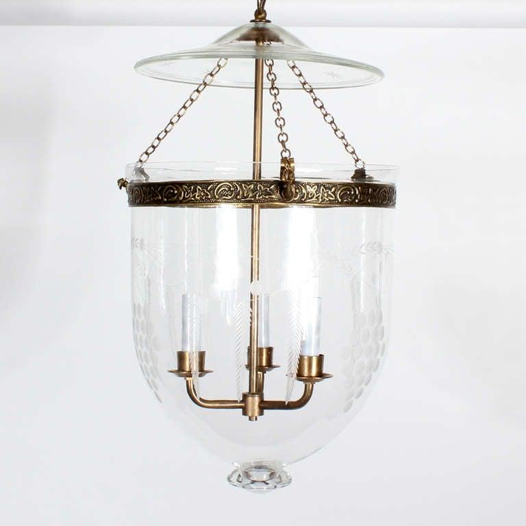 etched glass bell jar hurricane pendant light or lantern at 1stdibs. Black Bedroom Furniture Sets. Home Design Ideas