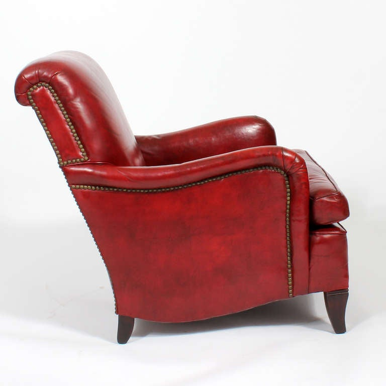 Comfy Vintage Red Leather Club Or Armchair At 1stdibs