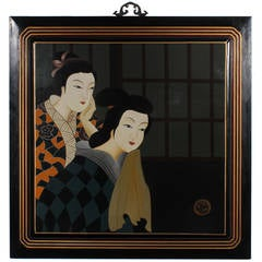 Large Oil on Wood Painting of Two Japanese Women