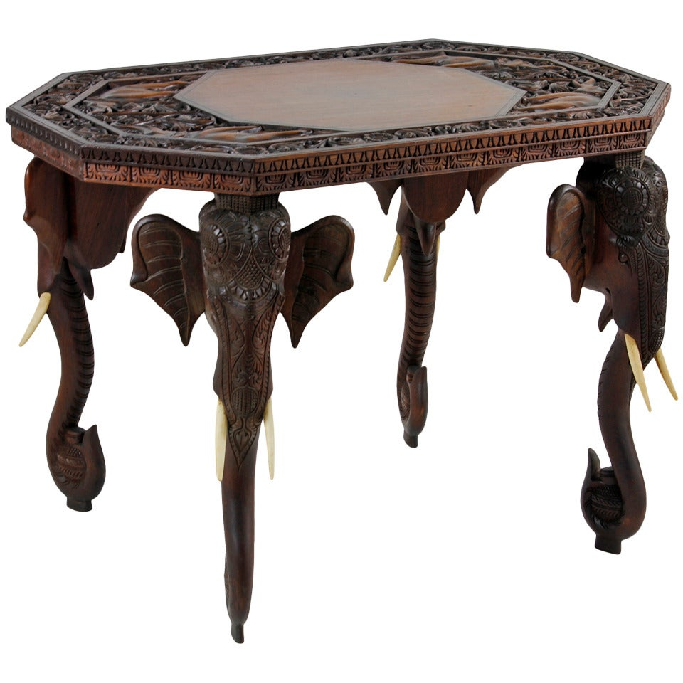Anglo indian or burmese elephant motif table at 1stdibs Elephant coffee table