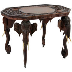 Anglo Indian or Burmese Elephant Motif Table