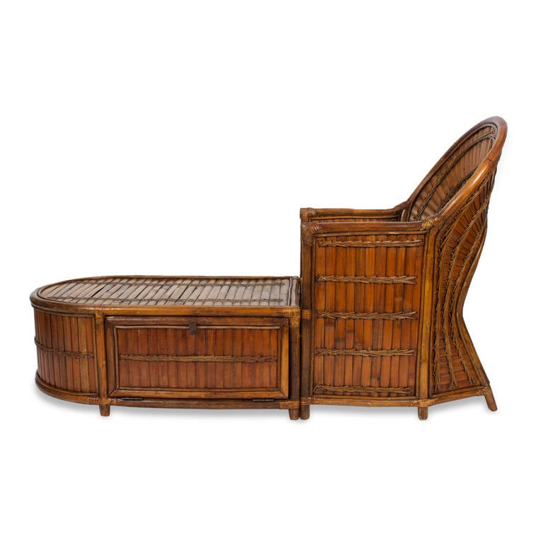 Rattan or wicker chase longue at 1stdibs for Chaise longue rattan