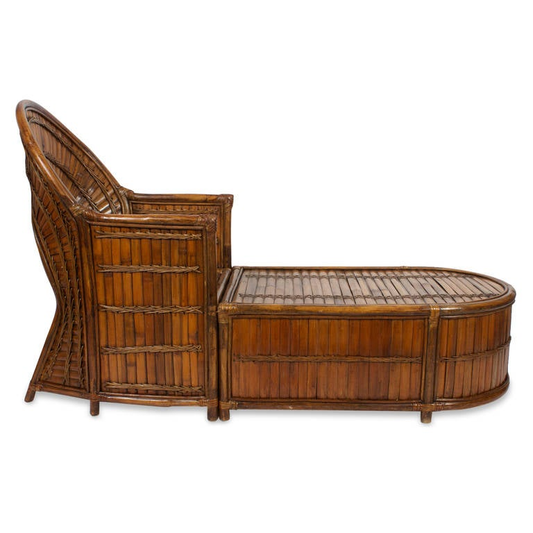 Rattan or wicker chase longue at 1stdibs for Chaise longue rattan sintetico