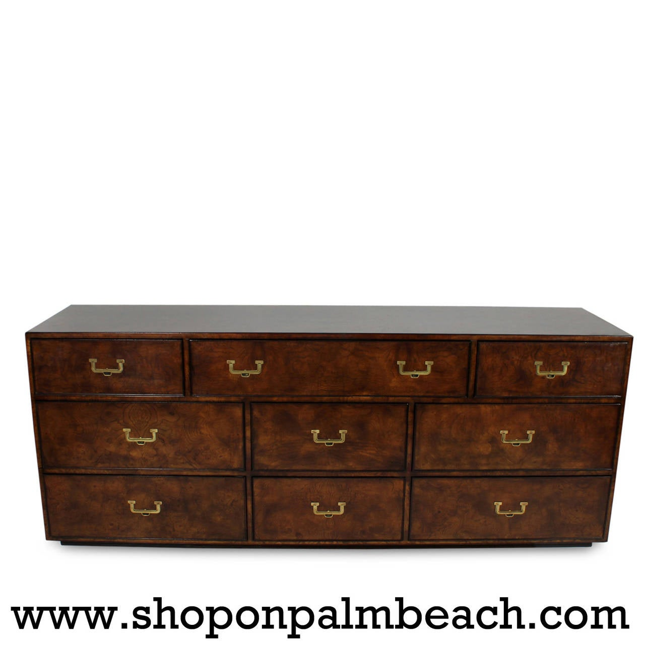Campaign Style Nine Drawer Double Chest Or Credenza At 1stdibs