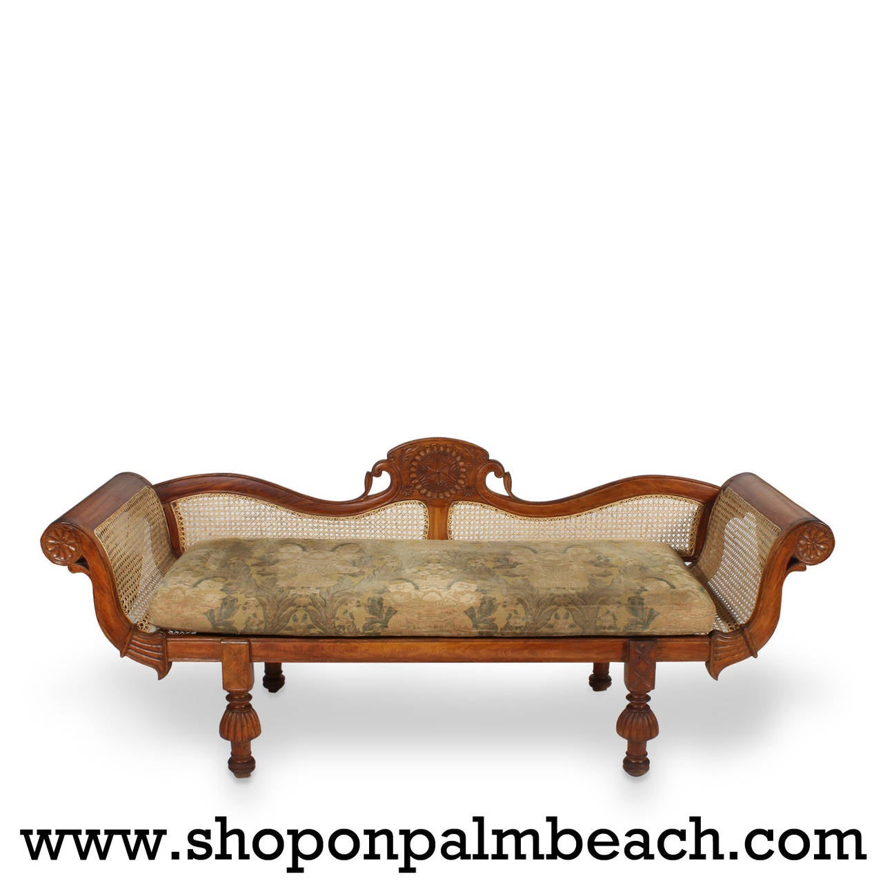 19th Century Tropical Hardwood Caned Rolled-Arm Sofa In Excellent Condition For Sale In Palm Beach, FL