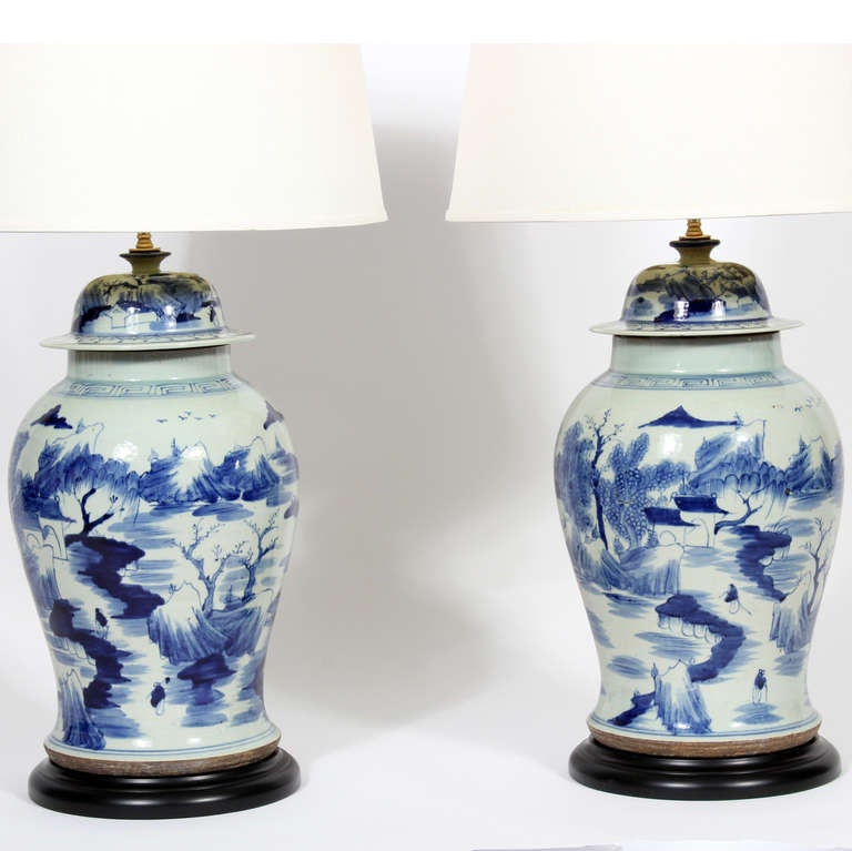Pair Of Blue And White Chinese Export Style Porcelain