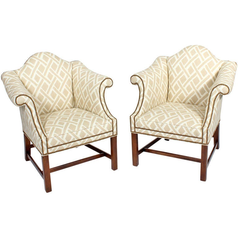 Pair of Upholstered Club or Wing Chairs