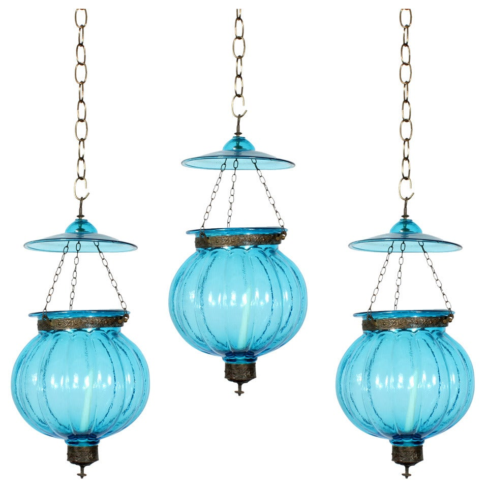 3 anglo indian late 19th c colored glass bell jar - Colored glass pendant lights ...