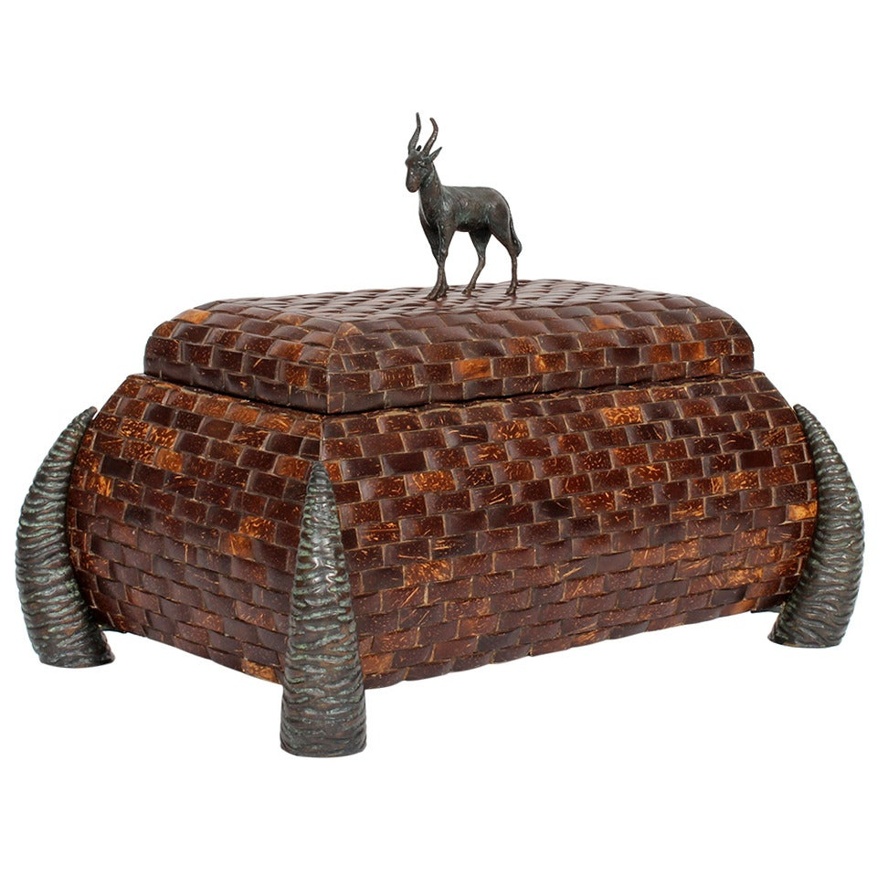 Maitland-Smith Coconut Box with Bronze Goat Figure and Horn Feet