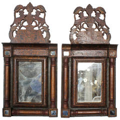 Pair of Persian Pierced Crest Courting Mirrors