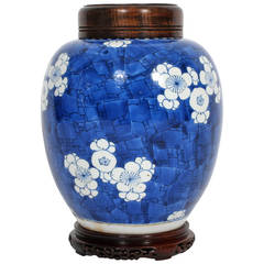Large Prunus Motif Chinese Export Ginger Jar on Wood Base