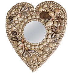 Heart Shaped Shell Encrusted Mirror