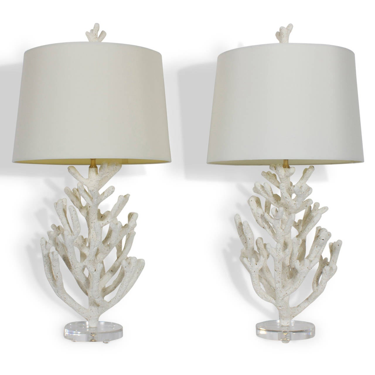 Bon Pair Of Faux Coral Custom Table Lamps On Lucite Bases