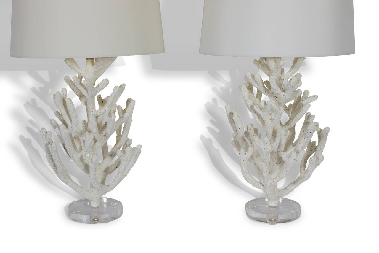 Pair of faux coral custom table lamps on lucite bases for sale at pair of faux coral custom table lamps on lucite bases 3 geotapseo Gallery