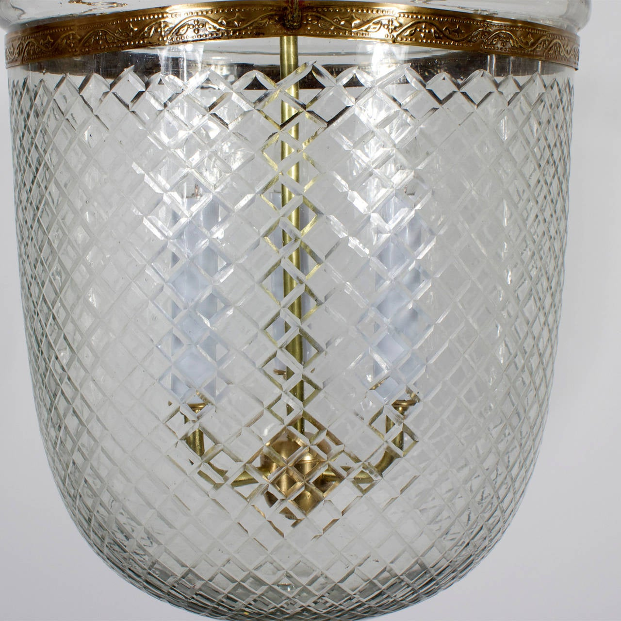Pair Of Glass And Brass Hurricane Or Bell Jar Lanterns At