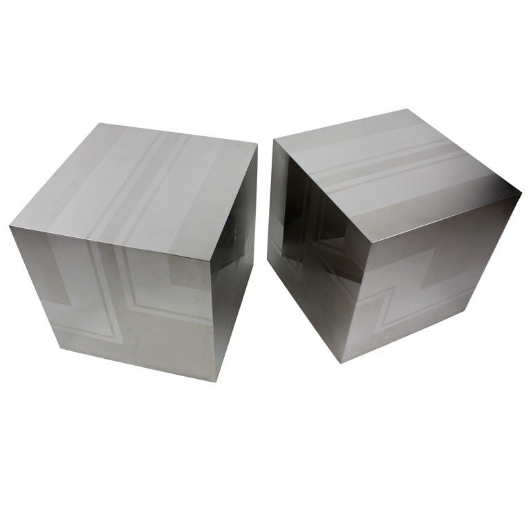 Pair of Polished and Etched Stainless Steel Cubes
