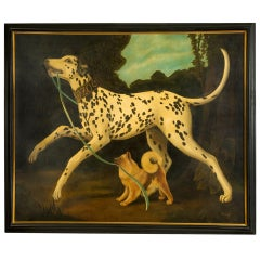 William Skilling, Large and Fanciful Oil On Canvas Painting of Dogs