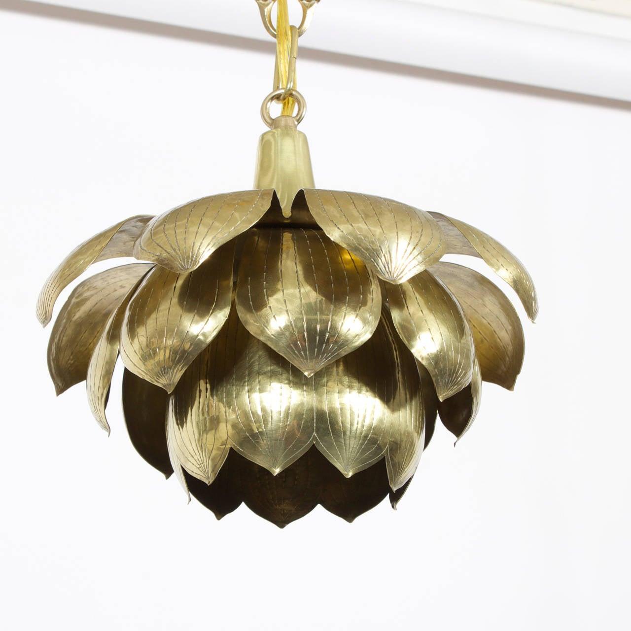Etched brass lotus pendant light or chandelier at 1stdibs american etched brass lotus pendant light or chandelier for sale aloadofball Images