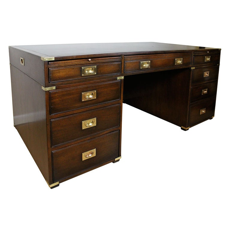 Large Mahogany Campaign Style Executive Desk At 1stdibs