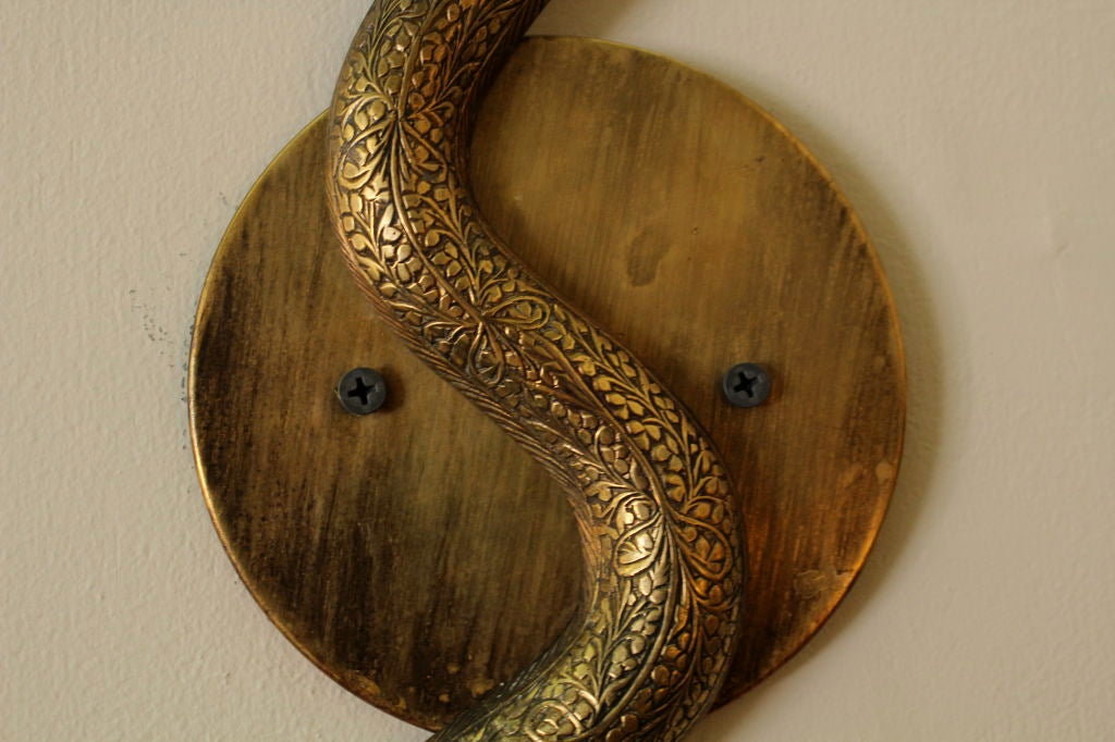 Pair of Etched Brass Electrifed Cobra Wall Sconces at 1stdibs