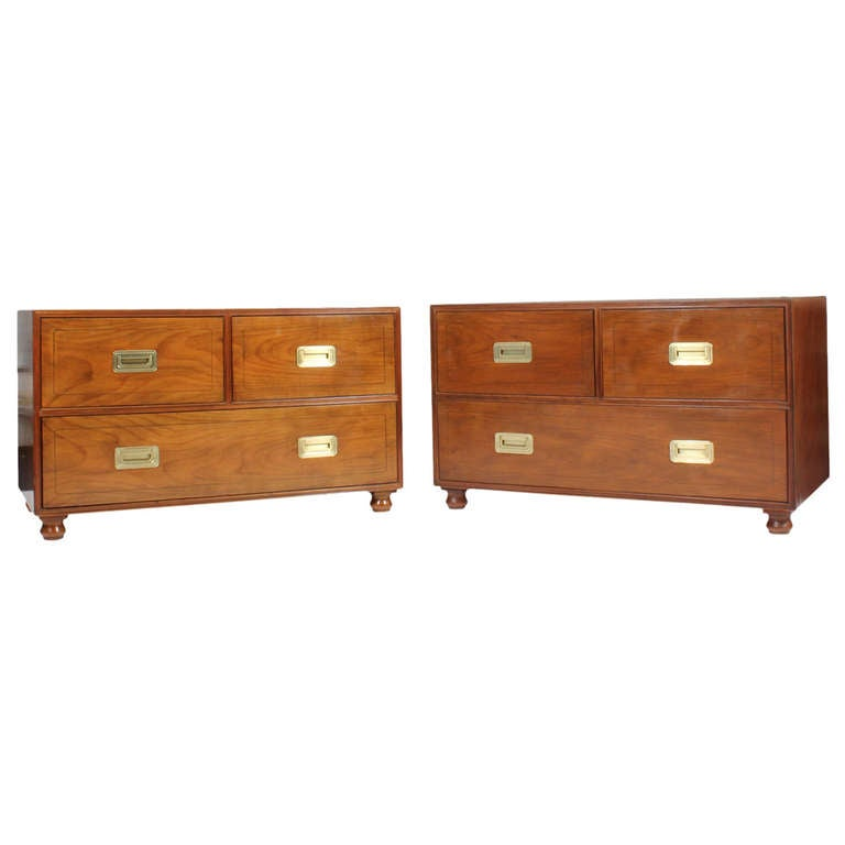 Pair of Campaign Style Chests by Baker
