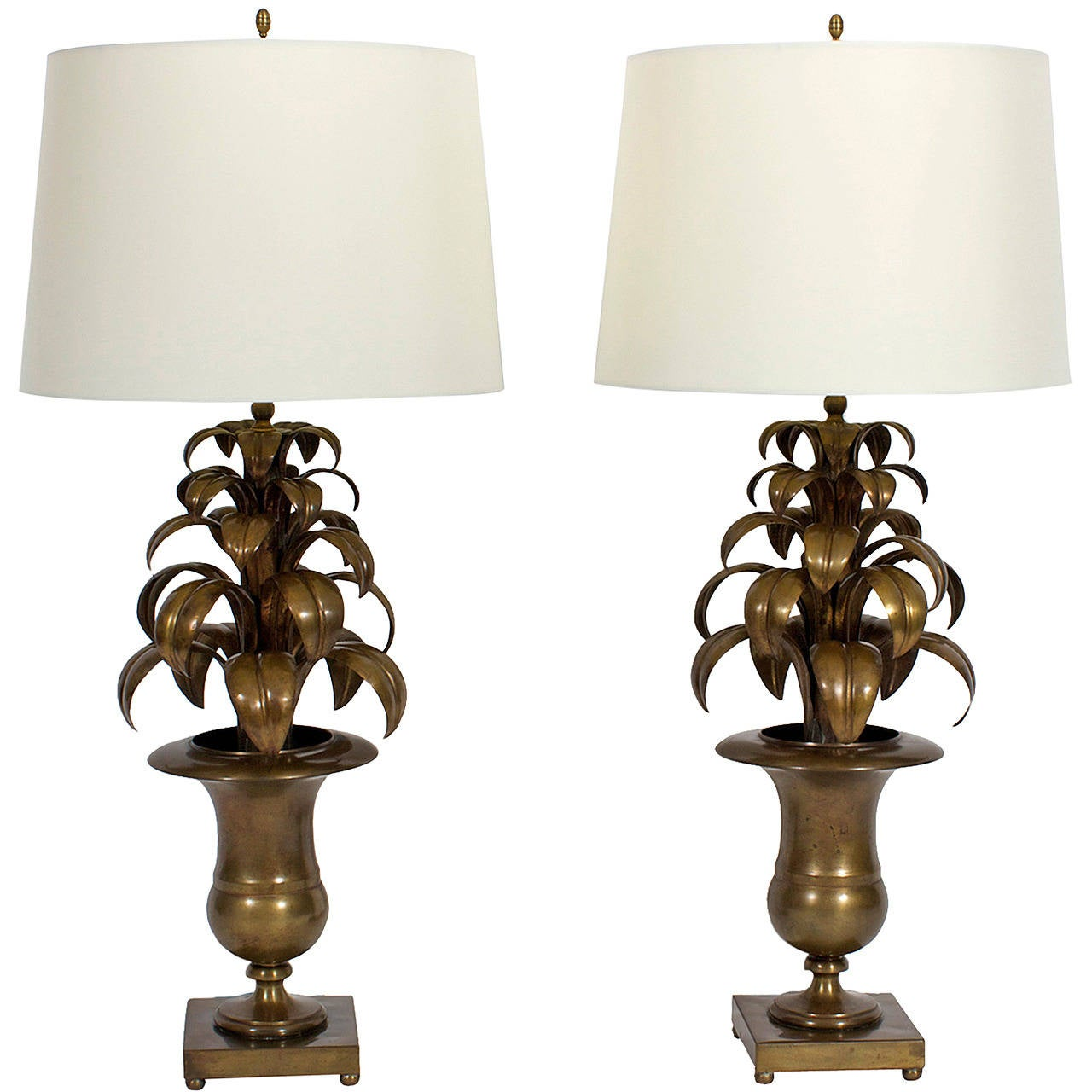 Pair of Italian Brass Tropical Leaf Lamps