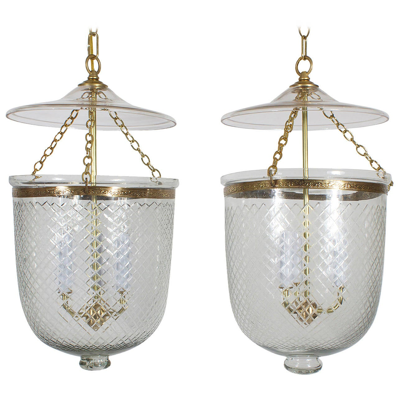 Pair of Glass and Brass Hurricane or Bell Jar Lanterns at ...