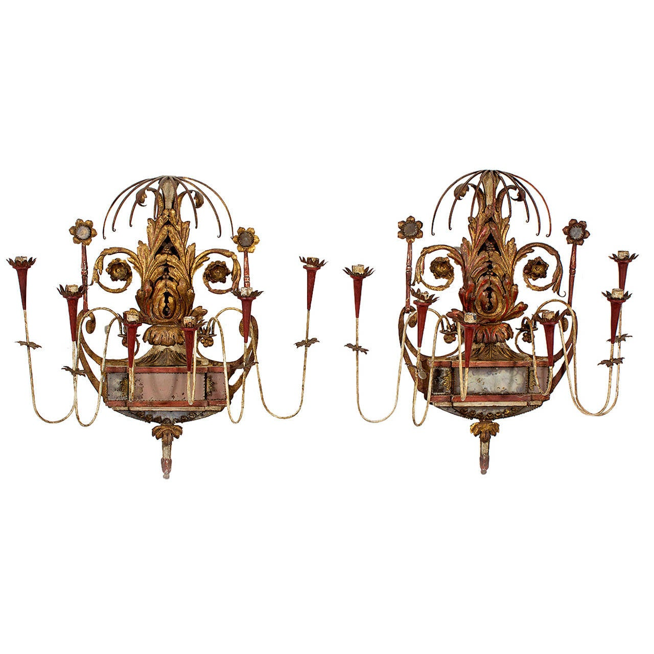 Pair of Neoclassical Style Painted Tole, Wood and Mirror Wall Sconces