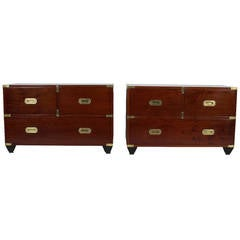 Pair of Labeled Charlotte Horstmann Campaign Style Chests