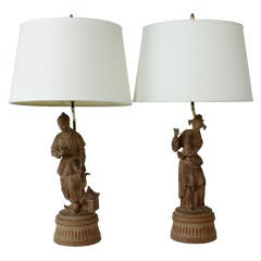 Pair of Terra Cotta Chinoiserie Male and Female Figure Lamps
