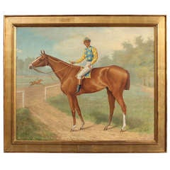 Horse and Jockey Painting of the 1st Futurity Stakes Winner Dated 1888