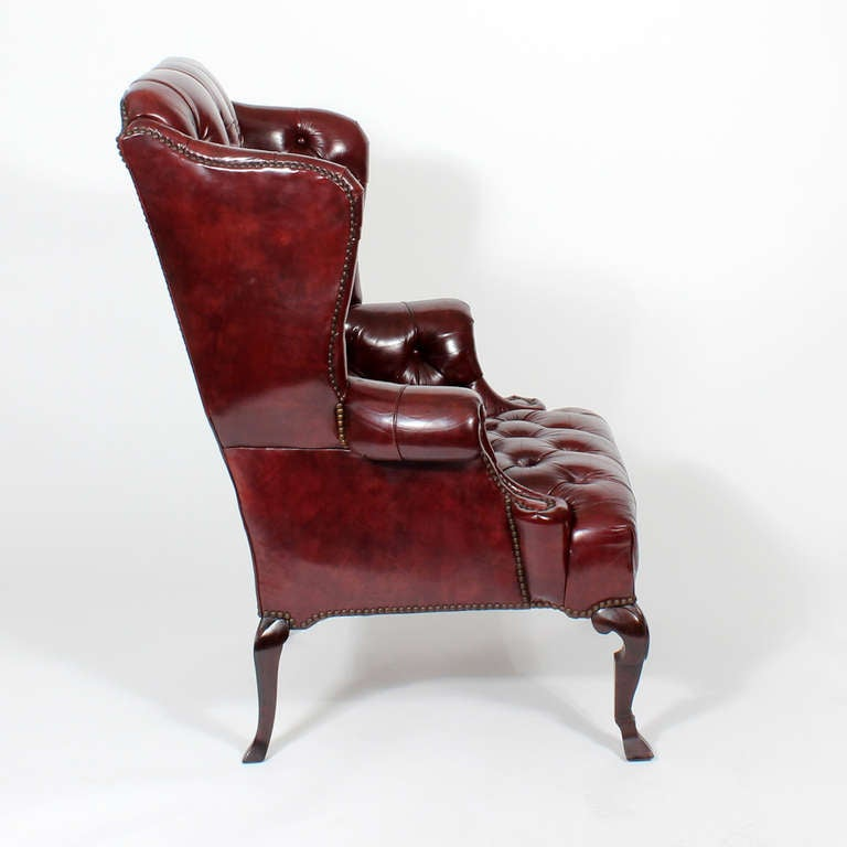 Red Leather Wingback Chair For Sale: Pair Of Red Leather Tufted Wing Chairs At 1stdibs
