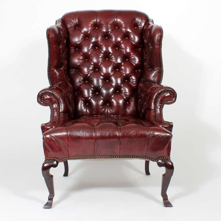 Pair Of Red Leather Tufted Wing Chairs At 1stdibs