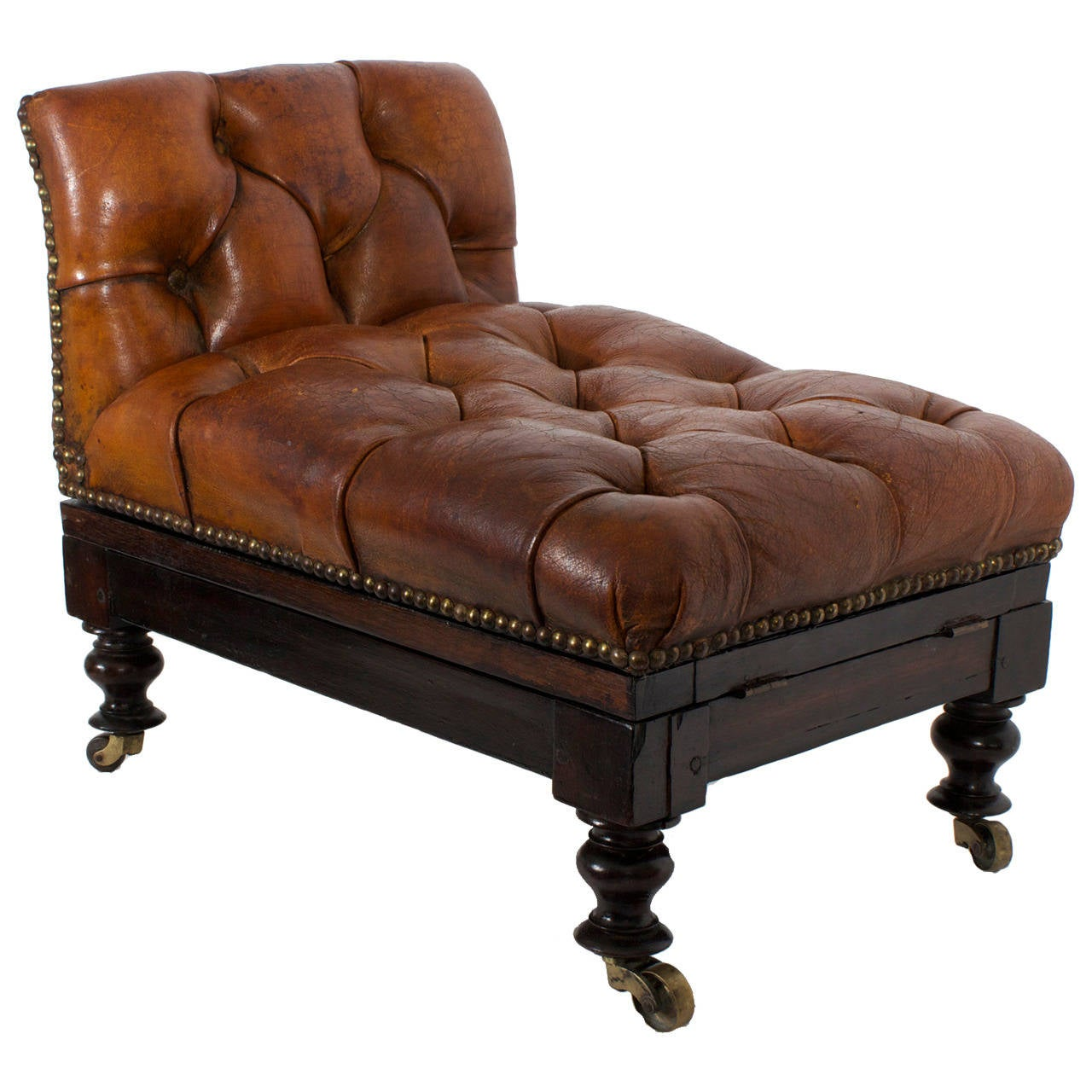 19th Century Tufted Leather Foot Stool or Bench, with Raising Capabilities