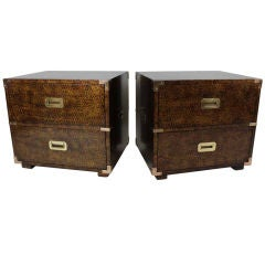 Pair of Tortoise Shell Painted Campaign Chests by Henredon