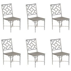 Set 6 Large Scale Faux Bamboo Metal Chairs