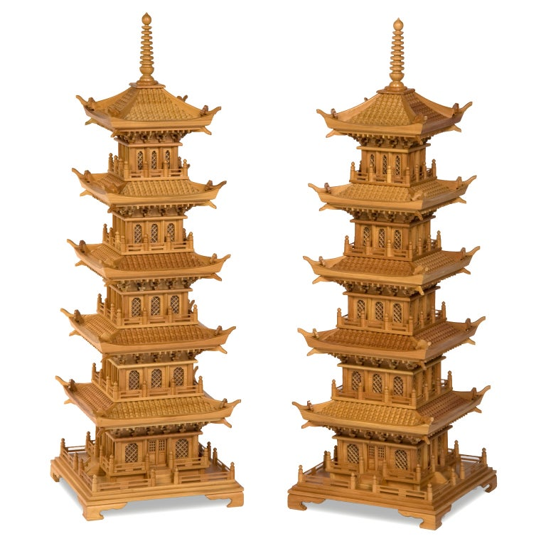 Pair of Large and Dramatic Pine Pagodas For Sale