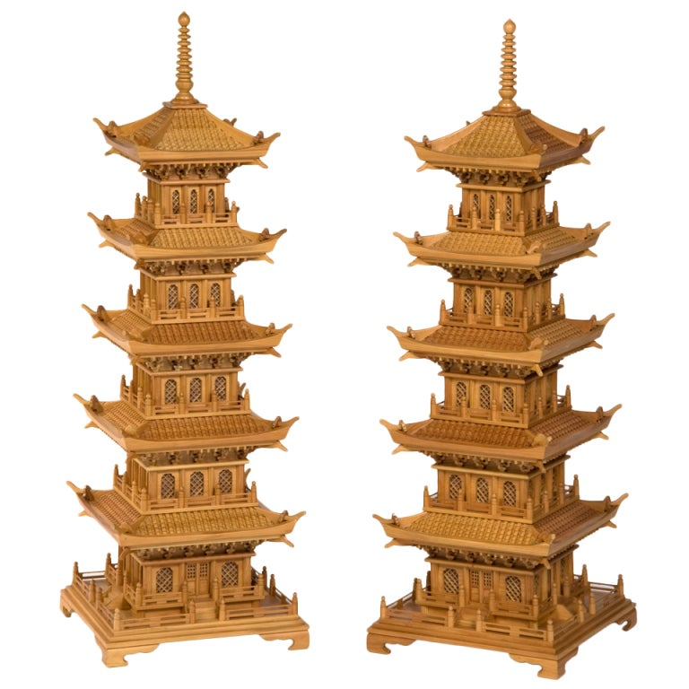Pair of Large and Dramatic Pine Pagodas 1