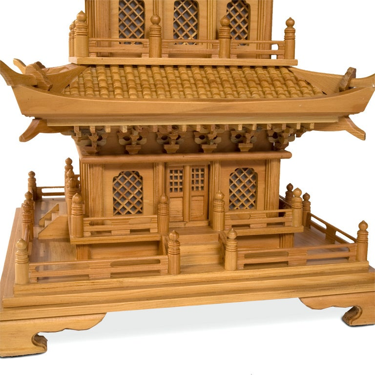 Chinese Pair of Large and Dramatic Pine Pagodas For Sale