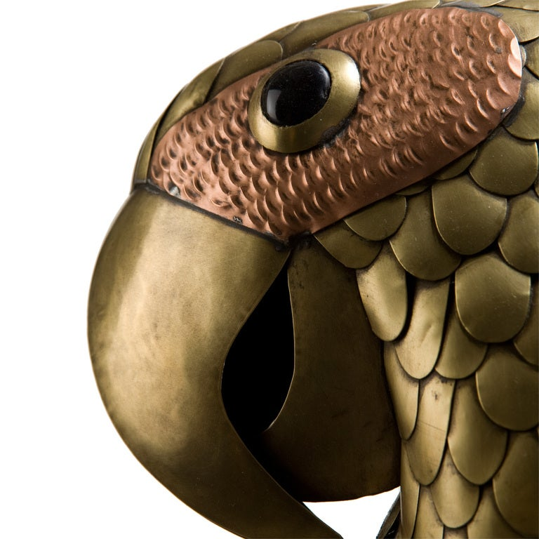 Brass and Copper Parrot on Hoop Attributed to Bustamante 3