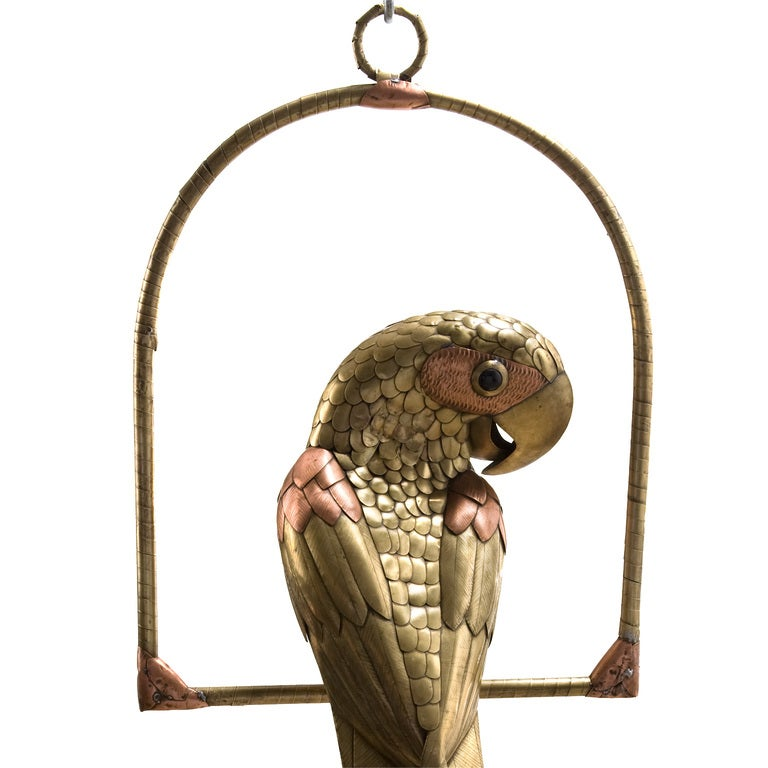 Brass and Copper Parrot on Hoop Attributed to Bustamante 4