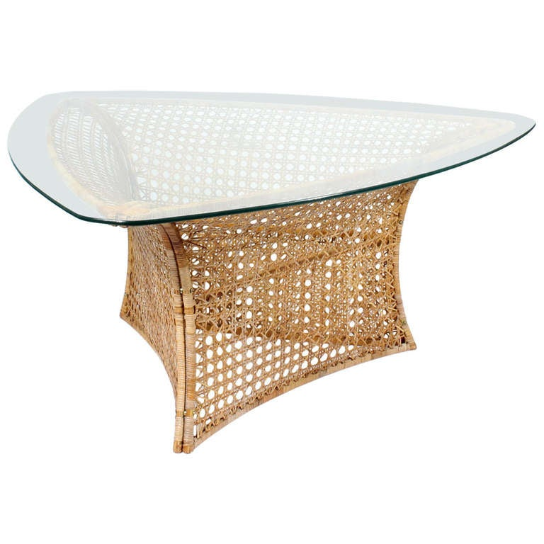 Triangular Shaped Glass Top Cane or Wicker Dining or  : 996678l from 1stdibs.com size 768 x 768 jpeg 55kB