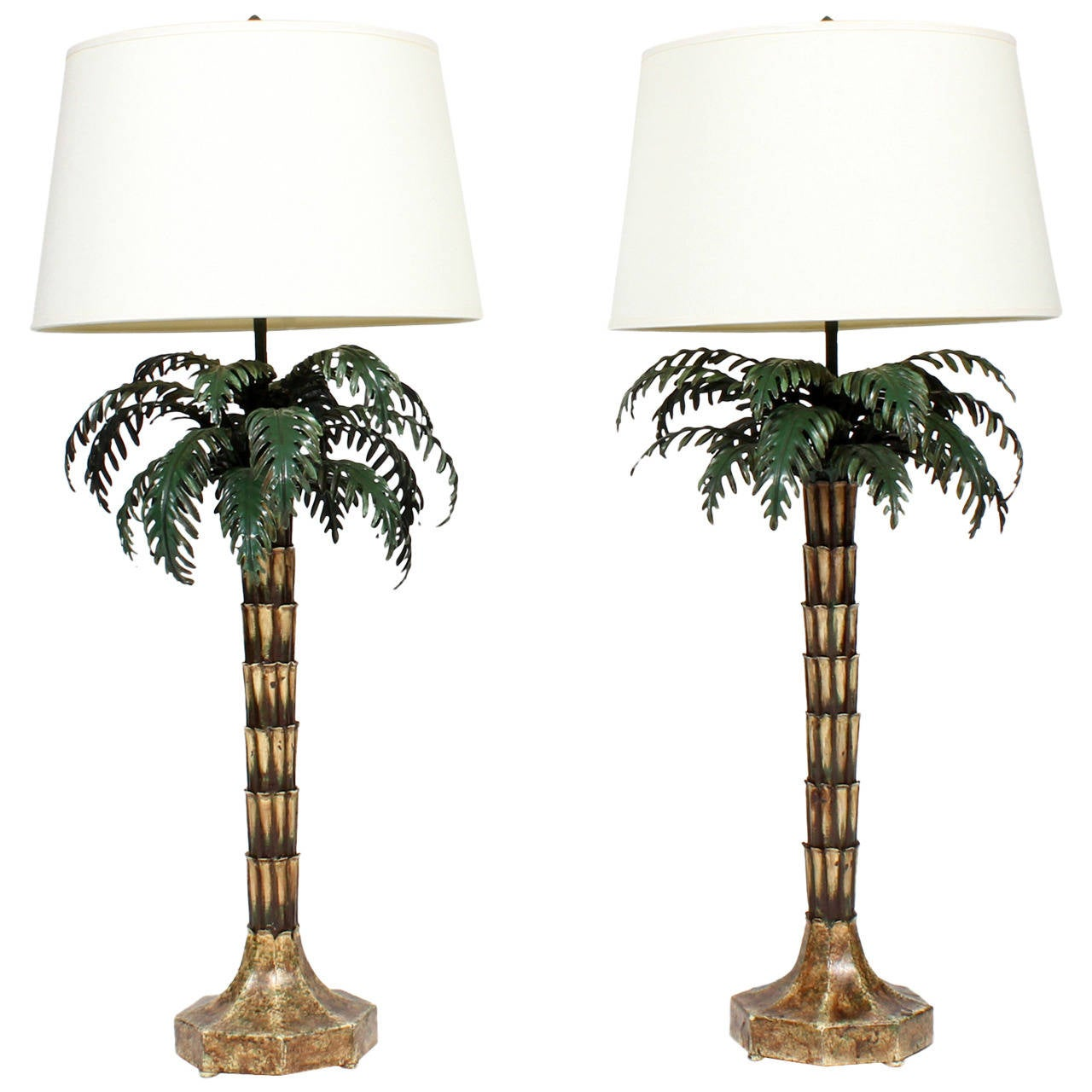 pair of killer painted and brass italian palm tree lamps at 1stdibs. Black Bedroom Furniture Sets. Home Design Ideas