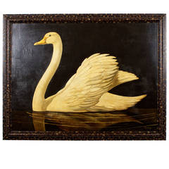 Large Oil on Canvas Painting of a Floating Swan